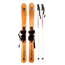 时尚高品质原木水曲柳滑雪双板大人儿童木质滑雪板雪橇可橱窗展示图片