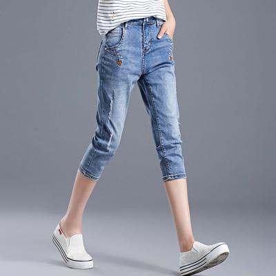 大码高腰宽松胖mm哈伦裤女士7分牛仔裤女夏季薄款马裤七分裤韩版