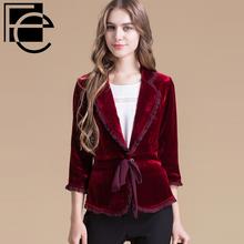 菲谷热卖新款 女士真丝短外套 纯色系带金丝绒开衫上衣