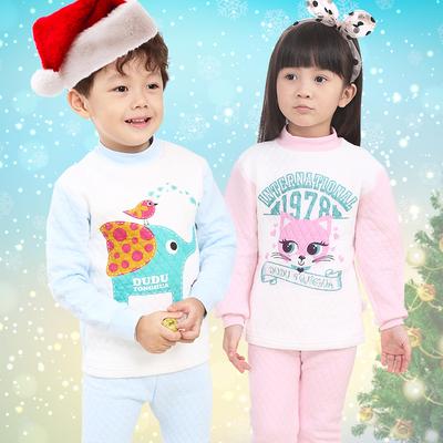 儿童纯棉三层保暖内衣套装男童女童中小童暖棉夹棉空气棉秋冬