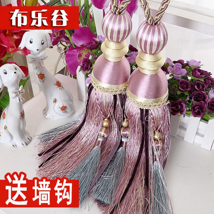 欧式花窗帘扣挂球绑带捆绑绳子扎带束带一对挂钩简约现代流苏饰品