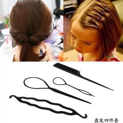 拉发针儿童盘发器套装编发美发用品女孩穿发器丸子头尖尾梳子发饰