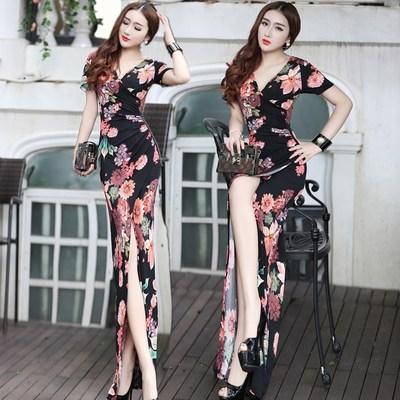 欧美夏季女装新品性感V领修身显瘦包臀高开叉连衣裙时尚印花长裙