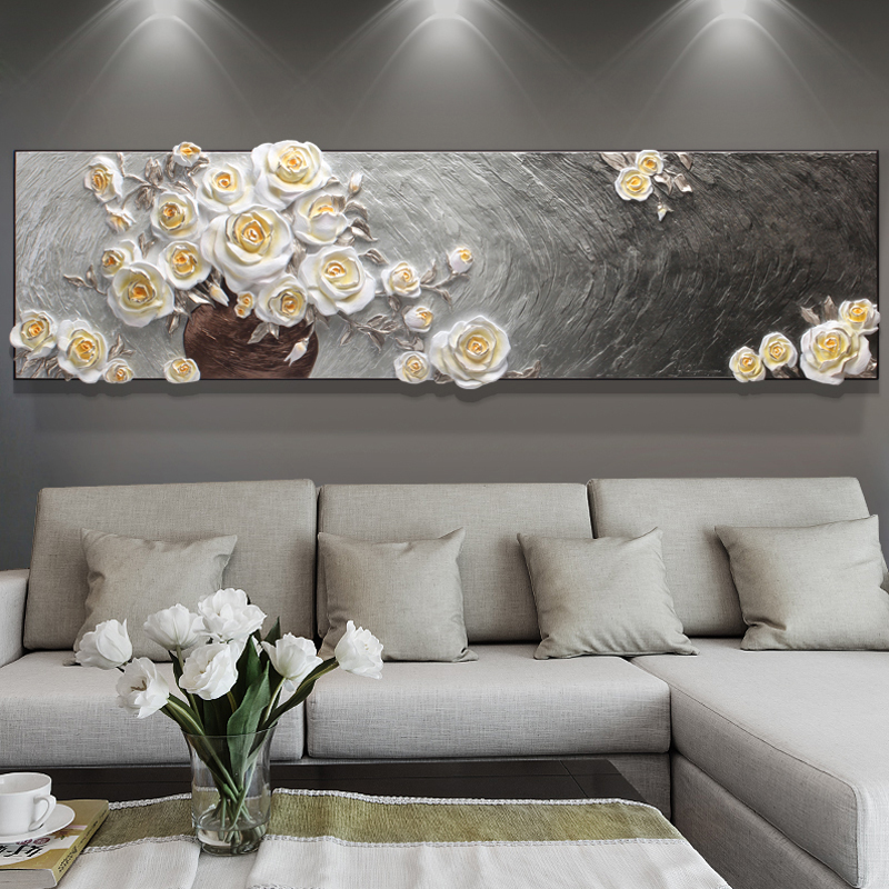 钻石画满钻贴钻十字绣欧式浮雕白玫瑰客厅大画现代简约卧室钻石绣3元优惠券