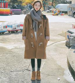 牛角扣大衣女软妹冬季中长款2017新款秋季韩版学院风连帽毛呢外套