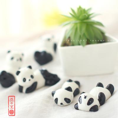 zakka陶瓷熊猫筷架工艺品陶瓷家居摆件 黑白熊猫筷架 装饰品 笔托