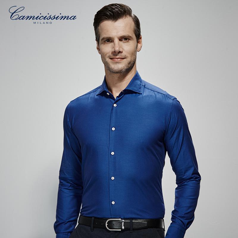 CAMICISSIMA/恺米切春秋男士纯蓝色温莎领长袖衬衫 商务修身衬衣