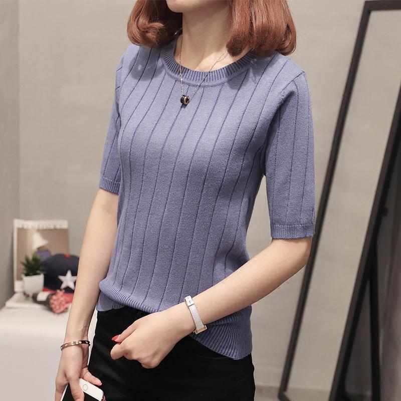 韩版圆领针织衫女