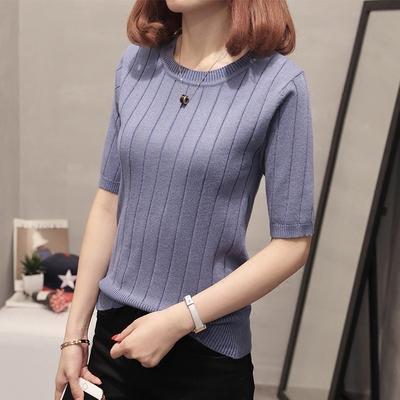 2018秋装新款圆领冰丝短袖针织打底衫条纹中袖上衣五分袖薄毛衣女