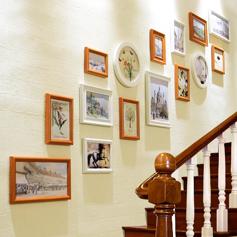 楼梯照片墙一面墙 相框墙欧式相片墙 创意客厅走廊挂墙相框组合5元优惠券