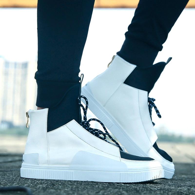 棉鞋 男秋韩版 潮流权志龙同款 嘻哈街舞运动加绒板鞋 个性 白色高帮鞋