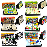 Folded Magnetic Checkers Chess Children's Toys Puzzle Chess Go Chess Chess Chess Game Chess Children's Puzzle Chess Toys Creative Multifunctional Chess Table Game Table Desktop Flight Checkers Checkers Backgammon