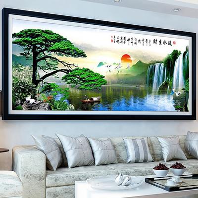 印花十字绣流水生财迎客松 财源滚滚聚宝盆2米系列新款客厅山水画