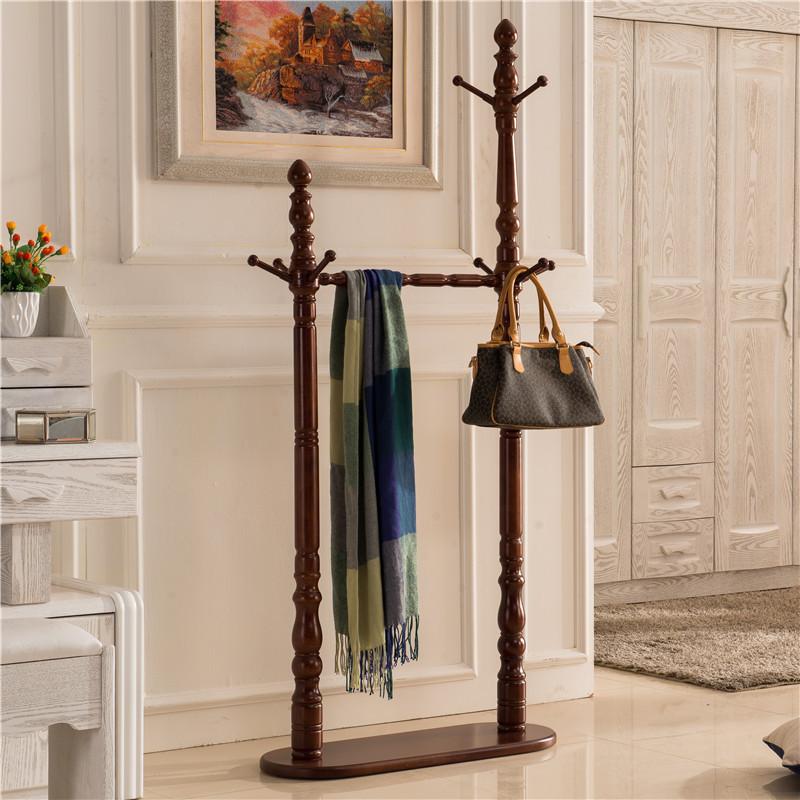 卧室实木美式落地挂衣架