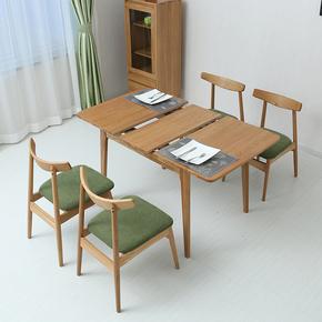 北欧纯实木拉伸折叠餐桌白橡木伸缩餐桌椅组合简约现代小户型桌子