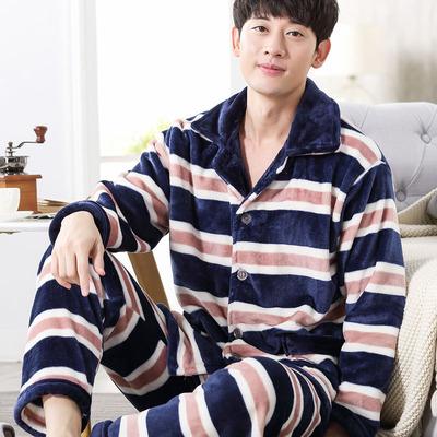 秋冬季珊瑚绒睡衣男士长袖加厚长袖开衫套装大码法兰绒睡衣家居服