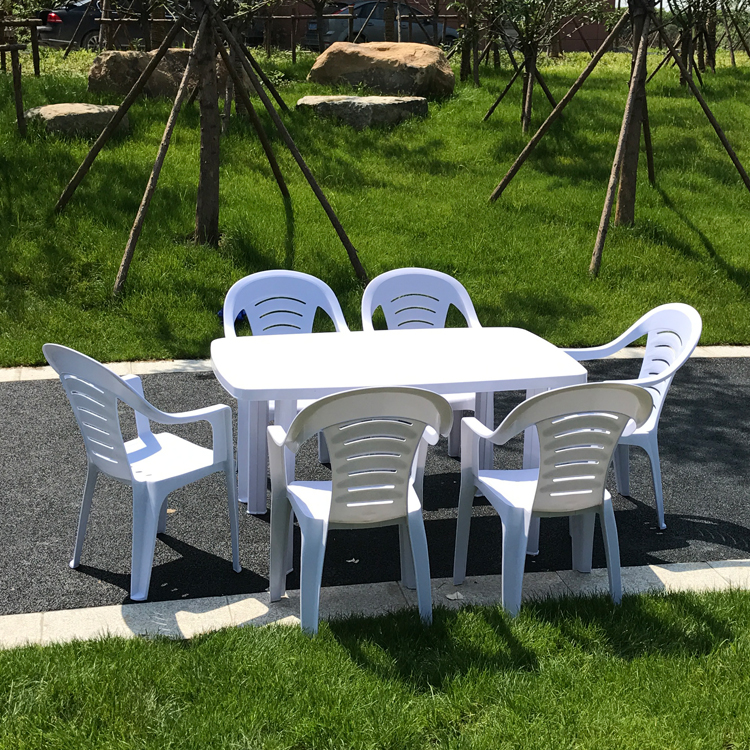 1.4米长户外大排挡庭院塑料桌椅/可插伞白色啤酒桌椅农家乐桌椅