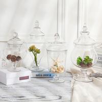 透明玻璃糖果罐储物罐客厅装饰摆件婚礼商店布置 玻璃糖缸送配饰