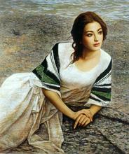高清喷绘印刷油画写实人物美女贵妇客厅卧室走廊宾馆挂画 RWC1007