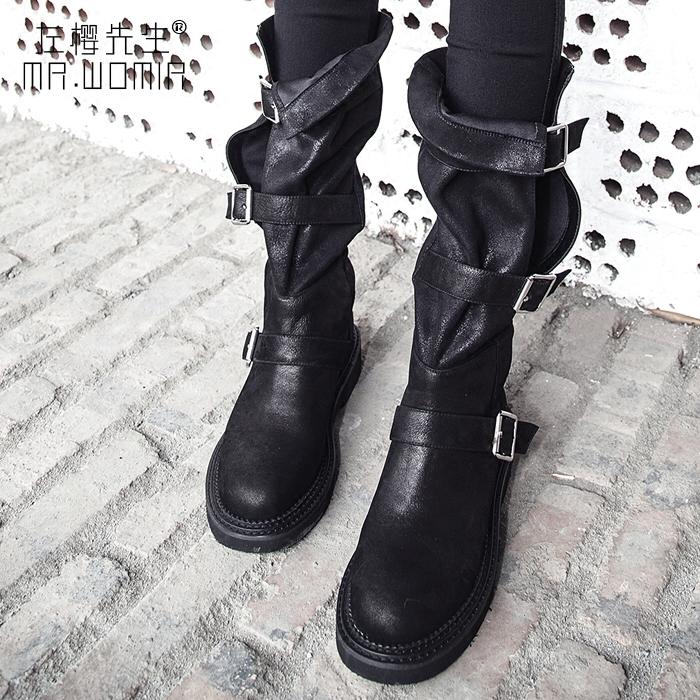 复古真皮高筒靴