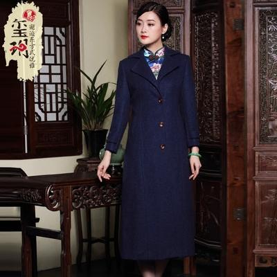 玺玥冬季新款气质优雅中长款羊毛呢风衣外套 女士优雅中年妈妈
