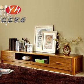 现代中式客厅柜2.2米实木电视墙柜矮柜子地柜茶几组合收纳置物柜