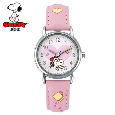 史努比可爱卡通女孩儿童手表中学生简约清新时尚防水石英电子表哪款好