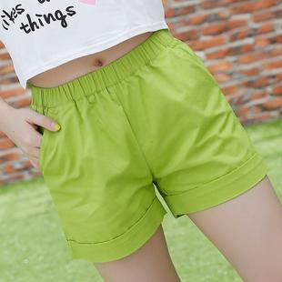 夏季新款纯色短裤女夏新大码糖果彩色宽松纯棉休闲短裤韩版热裤潮
