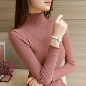 半高领短款毛衣紧身打底衫女长袖秋冬新款套头百搭修身内搭针织衫