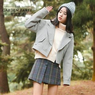 毛呢外套女短款2016冬装新款韩版修身刺绣毛呢大衣女