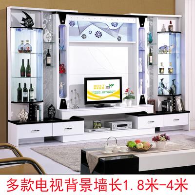 电视背景墙组合柜烤漆大小户型客厅简约现代黑白影视装饰视听酒柜年中大促