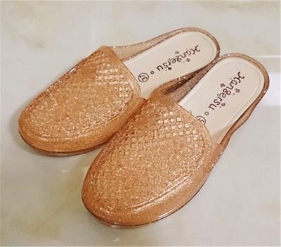 凉拖鞋透气包头水晶塑料中跟女夏春女士平底拖鞋防滑沙滩鞋潮小码