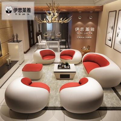 包邮简约现代真皮沙发创意个性大小客厅组合黑白时尚休闲皮艺家具