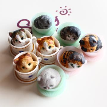 神仙爺爺 原版可爱超萌茶杯猫咪 扭蛋迷你摆件 生日礼物 8款入