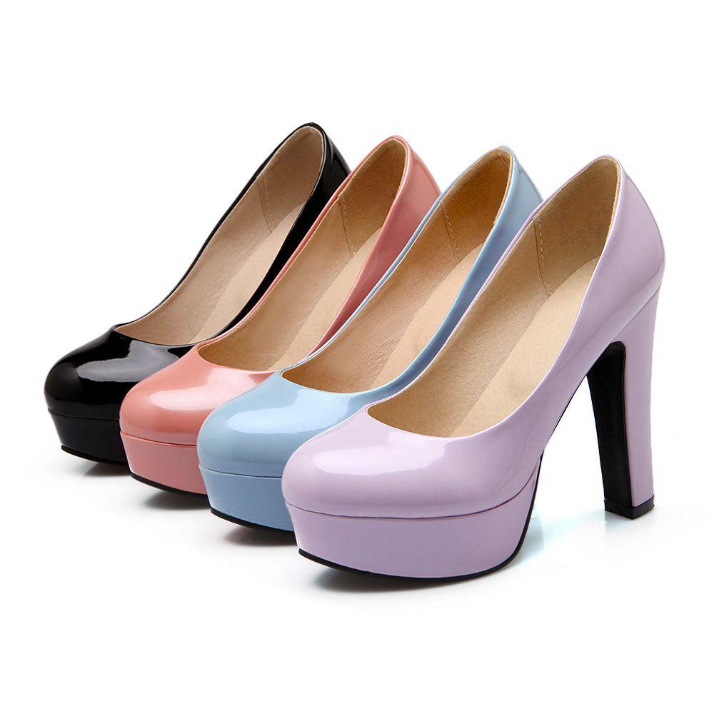 特大码女鞋子44 45 46 47 48码高跟鞋韩版粗跟防水台超高跟女单鞋