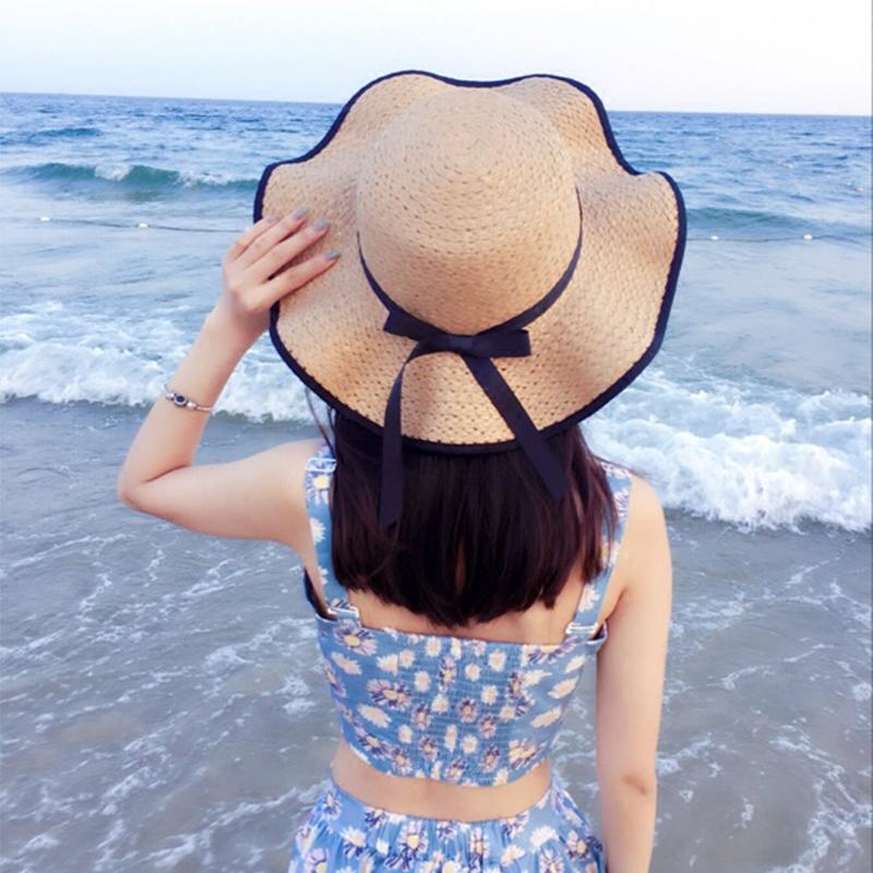 帽子女夏天韩版百搭遮阳夏海边草帽防晒出游大沿沙滩帽度假太阳帽