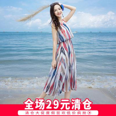 依尚风情波西米亚长裙雪纺沙滩裙夏季海边度假显瘦女中长连衣裙子