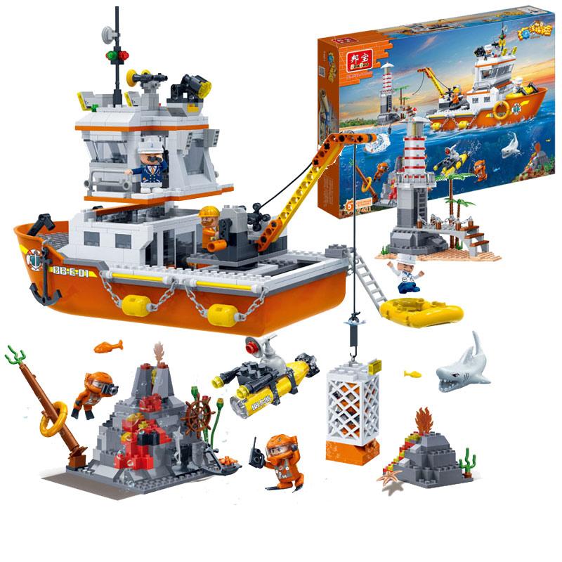 邦宝小颗粒益智拼装积木舰艇军事海洋探险远洋科考队7401男孩玩具1元优惠券
