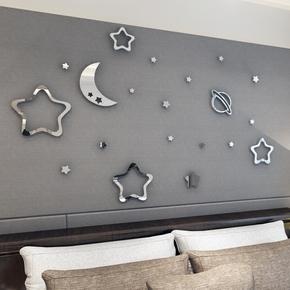 3d水晶亚克力立体镜面墙贴画卧室客厅背景墙儿童房间卡通装饰品
