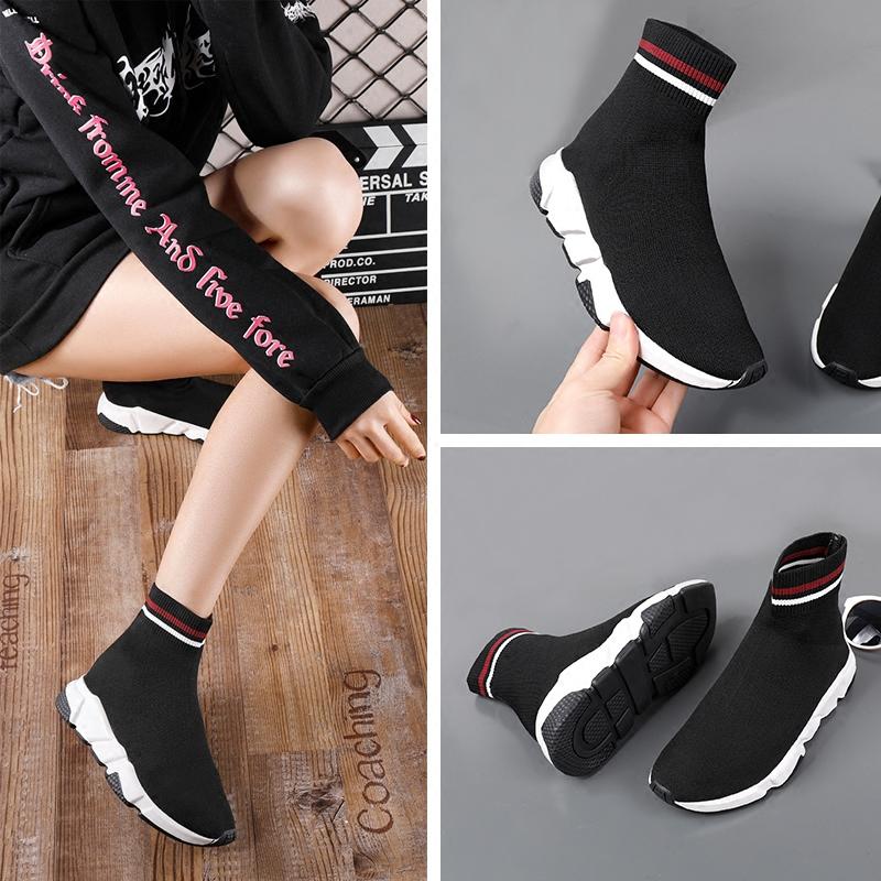 百丽辛迪拜2017新款加绒弹力袜子鞋冬季平底运动鞋软底休闲女短靴