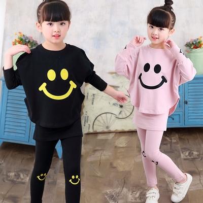 女童秋装套装2018新款潮女洋气韩版中大童时尚运动纯棉宽松两件套