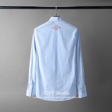 Blue bar simple bee behind the embroidery series, 18FW autumn and winter new fashion business shirt men