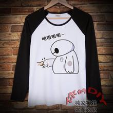 Popular Superpowered Marine Corps White Cartoon Long Sleeve T-shirt Men's and Women's Clothes Spring and Autumn Students'Underwear