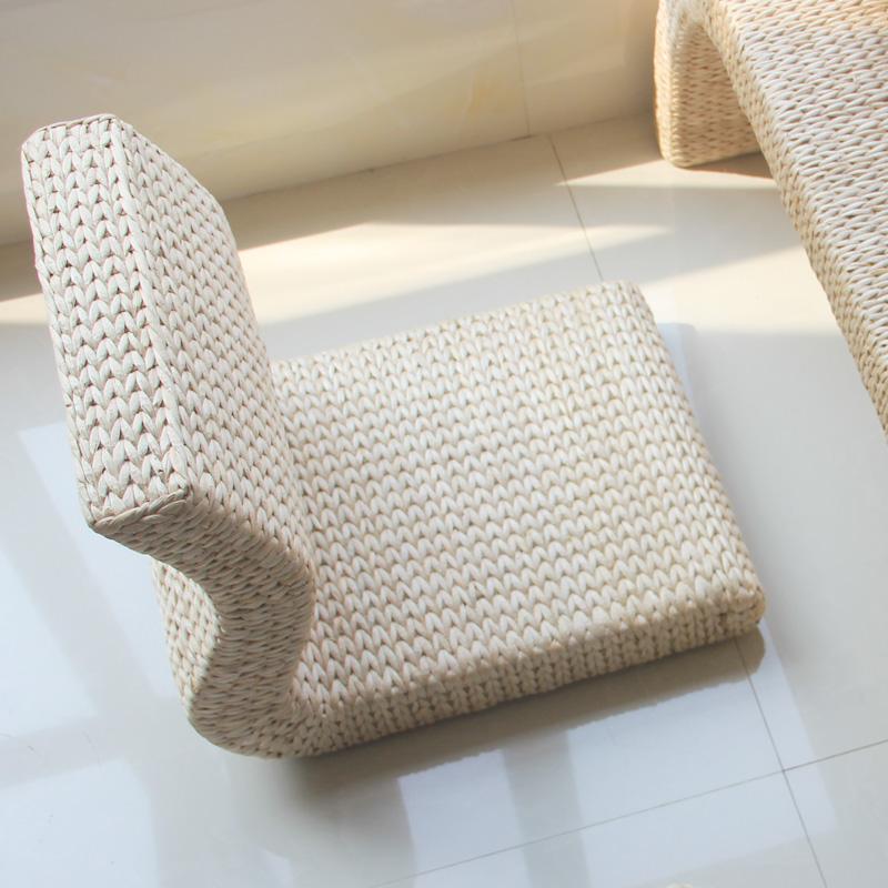 现代草腾编懒人椅子榻榻米椅子无腿椅 和室/地台/阳台/飘窗靠背椅1元优惠券