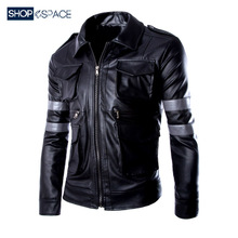 Biochemical Crisis of Men in Hunting Leather Apparel of Qiuchun Turn-collar Locomotive QiuLyon Young Men's Motorcycle Leather Jacket