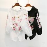 2018新款韩版小清新刺绣花朵灯笼袖V领衬衫前短后长百搭时尚潮流