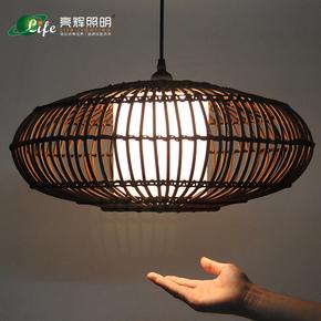 中式藤艺复古鸟笼吊灯东南亚竹编客厅咖啡厅餐厅卧室书房茶室灯具