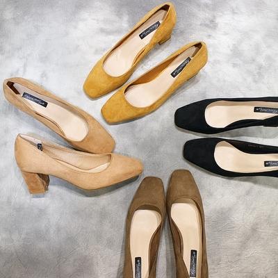 韩国春款 方头绒面粗跟高跟鞋 气质百搭工作单鞋 大码女鞋伴娘鞋