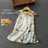 New wave children silk cheongsam summer female baby cheongsam 1-2 years old big children kids cheongsam silk