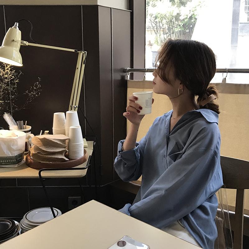 [ELINASEA]小海自制 2019春夏纯色休闲长袖薄款翻领单排扣衬衫女